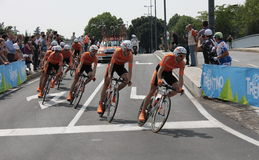 Giro d'Italia - EUSKALTEL EUSKADI team. Stage 4th of Giro di Italia - Verona ITALY - TEAM TIME TRIAL - 9th may 2012 royalty free stock image