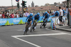 Giro d'Italia - GARMIN BARRACUDA team. Stage 4th of Giro di Italia - Verona ITALY - TEAM TIME TRIAL - 9th may 2012 - Ramunas Navardauskas team royalty free stock photos