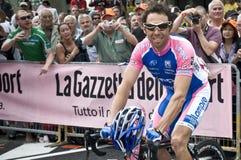 Giro d'Italia: Gilberto Simoni. A cyclist of Lampre Farnese team in Italy for Giro d'Italia. Location: Levico Terme Royalty Free Stock Image