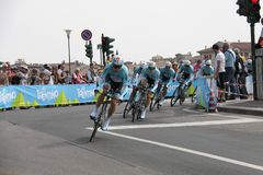 Giro d'Italia - INNERGETIC team. Stage 4th of Giro di Italia - Verona ITALY - TEAM TIME TRIAL - 9th may 2012 stock image