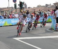 Giro d'Italia - ITERA team. Stage 4th of Giro di Italia - Verona ITALY - TEAM TIME TRIAL - 9th may 2012 royalty free stock image