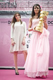 Giro d'Italia Miss with cup. Royalty Free Stock Photography