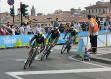 Giro d'Italia - ORICA team. Stage 4th of Giro di Italia - Verona ITALY - TEAM TIME TRIAL - 9th may 2012 royalty free stock image