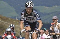 Giro d'Italia: Plan de Corones. A cyclist of Saxo Bank team in Italy for Giro d'Italia in Plan de Corones Stock Image