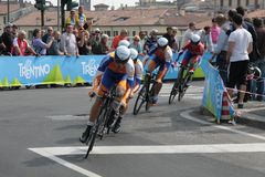 Giro d'Italia - RADOBANK team. Stage 4th of Giro di Italia - Verona ITALY - TEAM TIME TRIAL - 9th may 2012 stock images