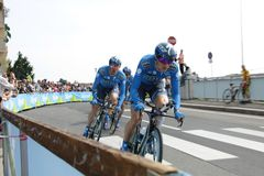 Giro d'Italia - SAXO BANK team. Stage 4th of Giro di Italia - Verona ITALY - TEAM TIME TRIAL - 9th may 2012 stock photos