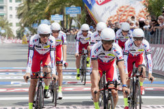 98° giro d'Italia. Stage 01nSAN LORENZO AL MARE - SANREMO (TTT)nMay 9, 2015n17.6 KM - Team time trialnin the picture the men's Katusha Stock Photography