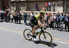 Giro d`Italia 2018. 4th stage in Catania, Sicily. CATANIA, ITALY - MAY 8, 2018: Cyclist Jack Haig of Australia Team MITCHELTON - SCOTT rides on Via Etnea street royalty free stock image