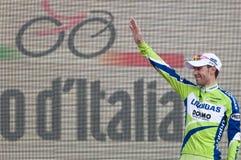 Giro d'Italia: Vincenzo Nibali third arrived. Vincenzo Nibali is the third on the podium of Giro d'Italia 2010. He greets his fans in Verona Royalty Free Stock Photo
