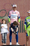 Giro d'Italia: winner Ivan Basso with children Royalty Free Stock Image