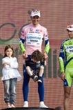 Giro d'Italia: winner Ivan Basso with children. Ivan Basso with his children happy on the podium of Giro d'Italia Royalty Free Stock Image