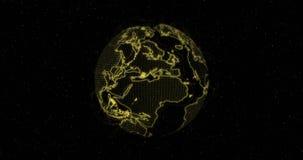 Giro da terra Terra do planeta em mover-se O mapa do mundo no fundo preto Efeito da luz v?deo 4K ilustração do vetor
