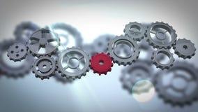 Giro das rodas denteadas e das rodas ilustração do vetor