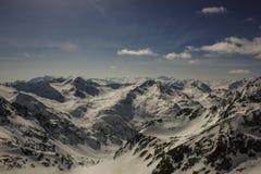 Giro del cielo sul ghiacciaio di Stubai Immagini Stock