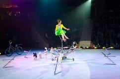 Giro del circo di Mosca su ghiaccio Cani preparati nell'ambito della direzione di Victoria Alexandrova Fotografia Stock Libera da Diritti