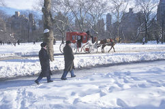 Giro del trasporto del cavallo e camminatori di domenica in Central Park, Manhattan, NY dopo la bufera di neve di inverno Fotografie Stock