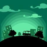 Giro dell'automobile di vettore in città con lo spazio del testo: illustrazione di fuga della città illustrazione di stock