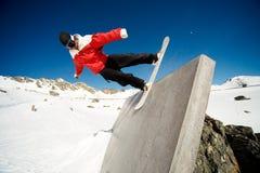 Giro della parete dello Snowboard Fotografia Stock