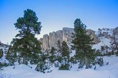 Giro dello sci a Kotalmjoch e a Stuhljoechl in montagne di Rofan Fotografia Stock