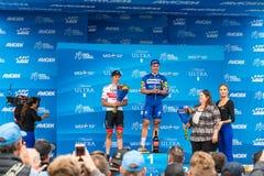 Giro di Amgen di California 2019 Arrivo della fase 4 nella baia di Morro Vincitori Fabio Jakobsen e Jasper Philipsen fotografia stock libera da diritti