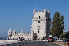 Giro di Belém, Torre de Belém in portoghese - Lisbona, Portogallo immagine stock libera da diritti