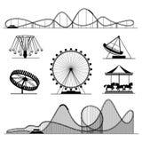 Giro di divertimento o insieme di vettore di spettacolo delle montagne russe di Luna Park Immagini Stock Libere da Diritti