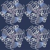 Giro di scenetta del modello di retro blu del ricciolo Fotografia Stock Libera da Diritti