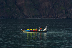 Giro di sorveglianza della balena dalla barca veloce dello zodiaco vicino a Husavik Fotografia Stock Libera da Diritti