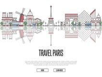 Giro di viaggio al manifesto di Parigi nello stile lineare royalty illustrazione gratis