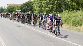 Giro dItalia 2014. Bellusco, Italy, Sunday, May 25, 2014: in the streets of the province of Monza and Brianza passing the caravan during the 15th stage of the stock photography