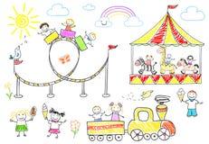 Giro felice dei bambini sul carosello Fotografia Stock