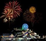 Giro & fuochi d'artificio di divertimento Immagine Stock