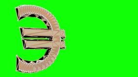 Giro isolado euro- sinal do ouro video estoque