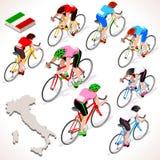 Giro Italia racing cyclist group riding bicycle path. Vector cyclist icon. Stock Photos