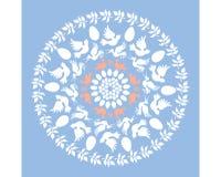 Giro ornamentale, modello con gli uccelli ed uova royalty illustrazione gratis