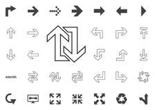 Giro posteriore su e giù l'icona delle frecce Icone dell'illustrazione della freccia messe immagini stock