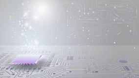 Giro tecnologico grigio chiaro del backg Rete sociale Circuiti elettronici Chip con il codice binario Rete di computer e chip illustrazione di stock