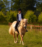 Giro teenager biondo il cavallino Fotografia Stock