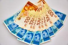 Giro vário de contas de dinheiro israelitas do shekel imagens de stock