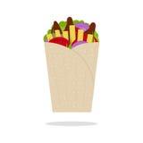 Girocompases Pita Greek Fast Food Flat Vector ilustración del vector