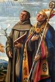 Girolamo DA Santa Croce: ST Anthony της Πάδοβας και του Σαιντ Λούις της Τουλούζης Στοκ Εικόνα