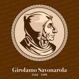 Girolamo Savonarola 1452-1498 era un attivo domenicano italiano del predicatore e del frate nella rinascita Firenze illustrazione vettoriale