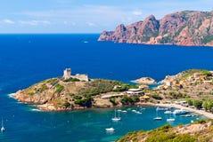 Girolata海湾全视图 免版税图库摄影