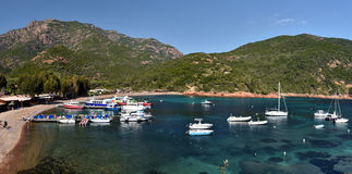 Girolata Anchorage seen from the hamlet royalty free stock photo