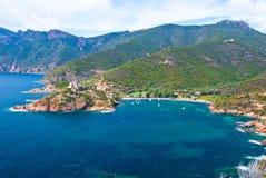 Girolata Bay. View of Girolata bay taken from the pedestrian road Stock Photos