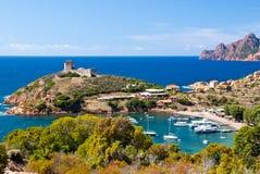 Girolata bay close view. Close view of Girolata bay on Corsica Stock Photo