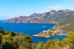 Girolata Bay and Scandola. View on Girolata Bay and Scandola natural reserve Stock Images