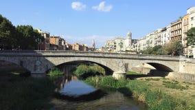 Girona è bella vecchia città sul fiume Fotografia Stock Libera da Diritti
