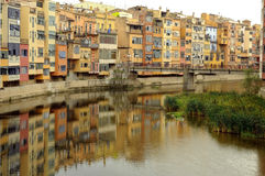 Girona. The city of Girona, which is mirrored on the Onyar river royalty free stock images