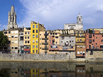 Girona. 's riverside of Onyar, spain Stock Photo